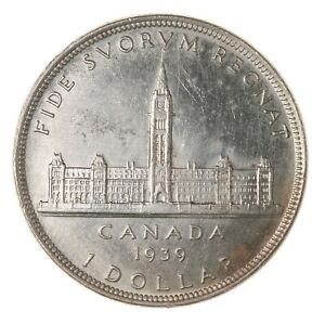 Raw-1939-Canada-1-Uncertified-Double-HP-Canadian-Mint-Silver-Dollar-Coin