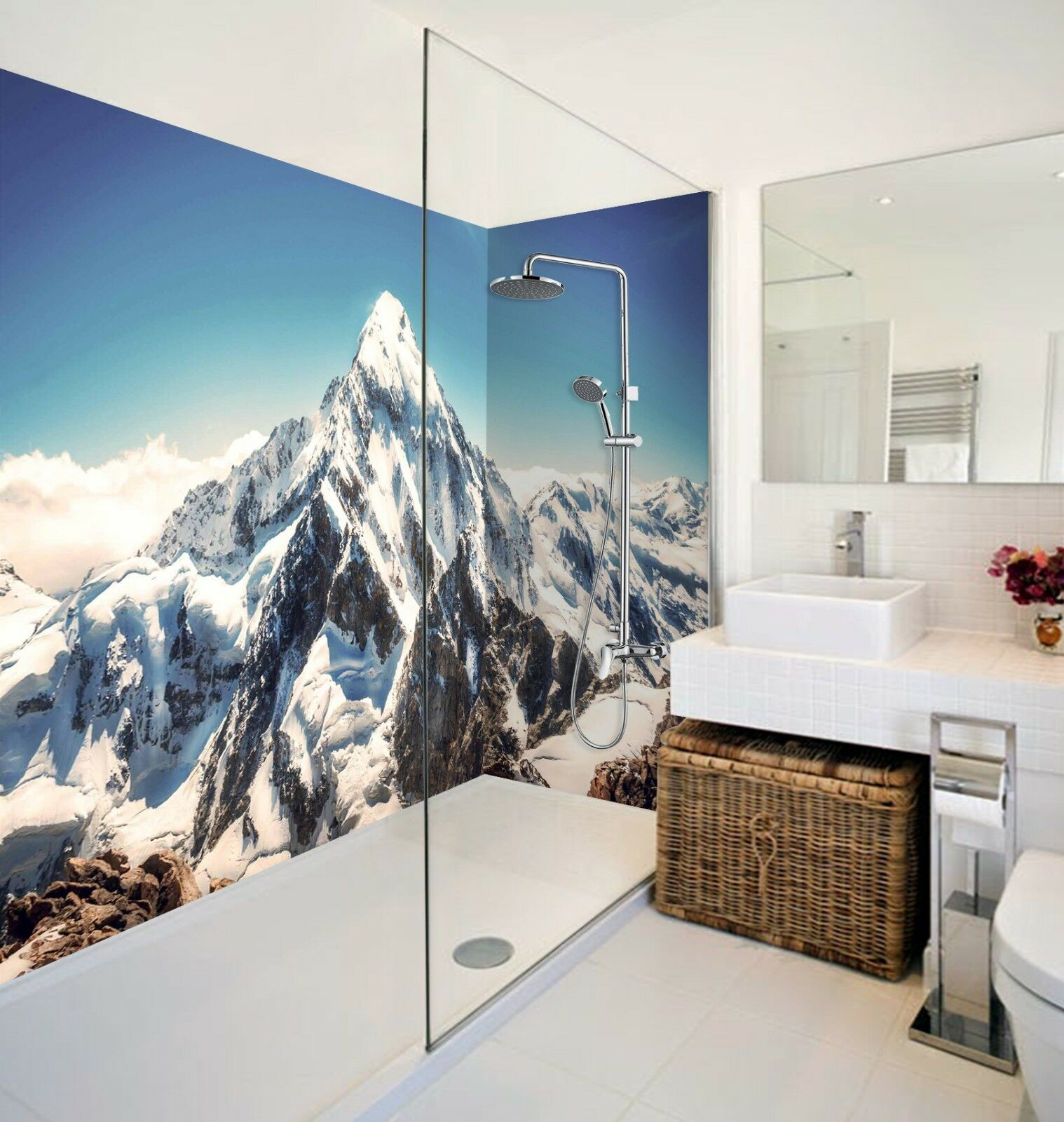 3D Weiß Snow Hills WallPaper Bathroom Print Decal Wall Deco AJ WALLPAPER UK