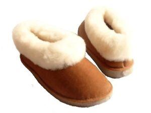 chaussons fourrés - femme - pantoufle peau de mouton - cuir   eBay 48ed5c2b5e6