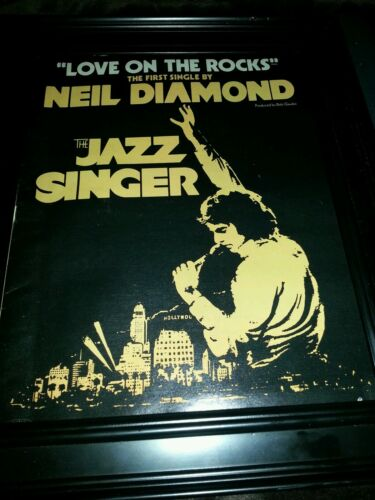 Neil Diamond Love On The Rocks Jazz Singer Rare Original Promo Poster Ad Framed!