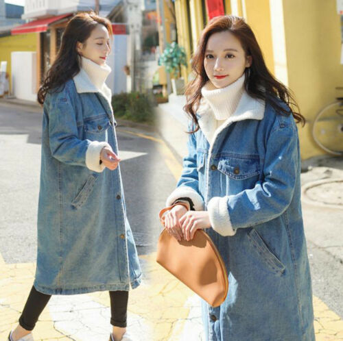 Warm Lapel Jean Fleece Womens Denim Jackets Long Trench Loose Winter Coats Tykk xwRqfCP
