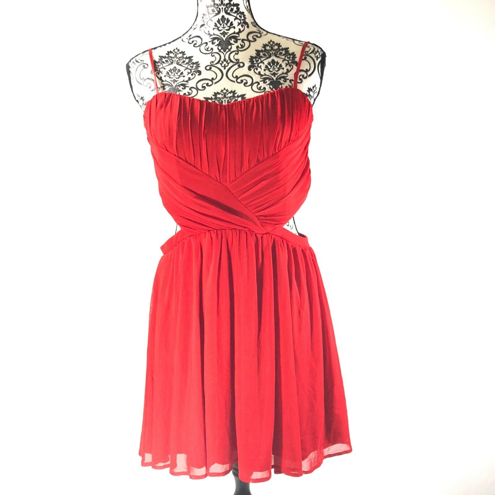 NWT Steppin' Out Dress SZ Large Ruched Cutout Sides Mini Sleeveless Pleated Red