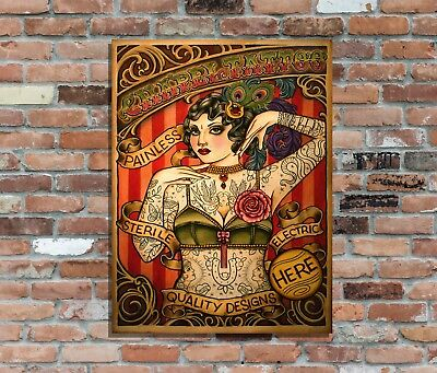 """Tattoo Parlour 3 Aged 10x8/"""" rétro vintage metal sign advertising wall art Pic"""