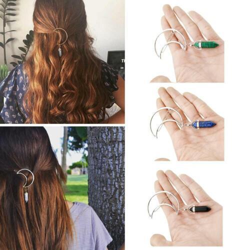 Retro Frauen Mond Form Haarnadel Sechseckige Spalte Stein Anhänger Haarspange