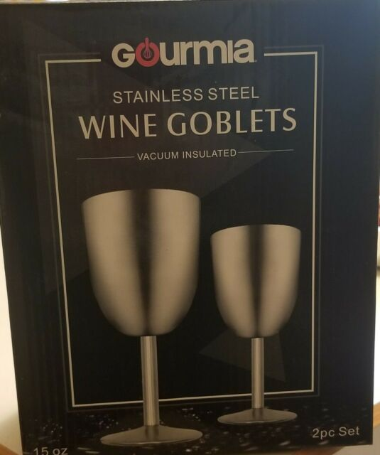 Gourmia GGS9350 2 Pack Stainless Steel Wine Glasses With Clear Plastic Lids 15oz