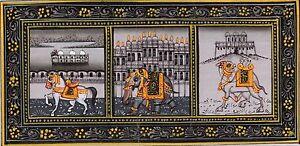 Elephants-Horse-Camel-Painting-Rajasthani-Monuments-Handmade-Animal-Silk-Artwork