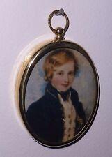 Portrait Miniature of sweet-faced midshipman in Georgian style oval brass frame