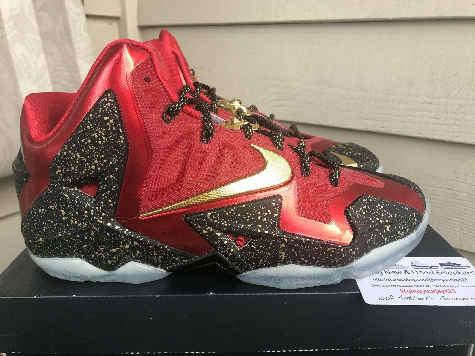 NIKE MEN LEBRON XI 11 ID BLACK-RED-GOLD Price reduction Wild casual shoes