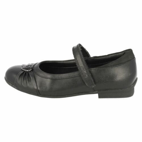 *SALE* Clarks /'Dolly Heart/' Girls Black Leather School Shoes Extra Narrow D Fit