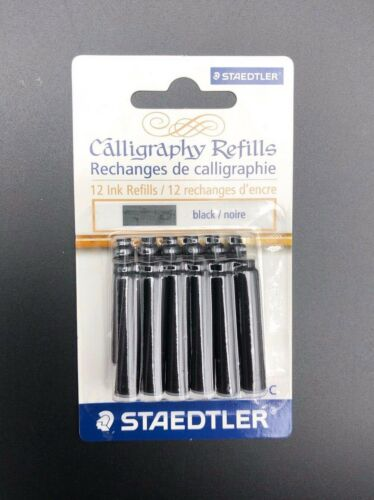 Staedtler 12 Ink Calligraphy Pen Refills Black New