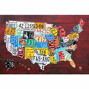 LICENSE PLATE MAP OF THE US - POSTER 24x36 - UNITED STATES USA TRAVEL 10205