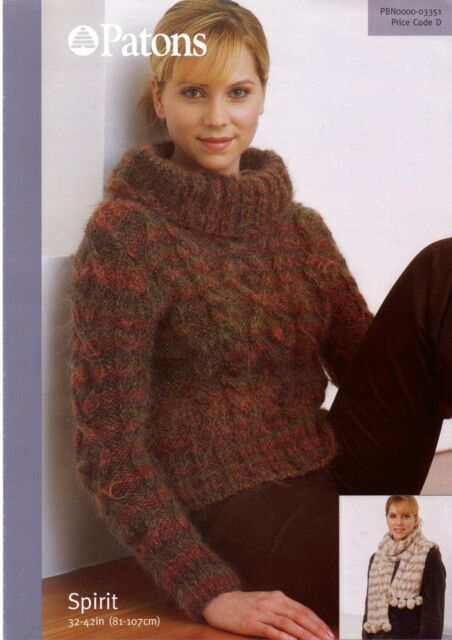 Knitting Pattern Ladies Chunky Wide Polo Neck Cable Sweater Scarf