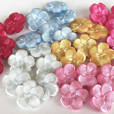 Los Botones De Flor Nacarado 18mm De Diámetro, Rosa, Azul, Blanco, Amarillo Por 5 Botones Meticulosos Procesos De TeñIdo