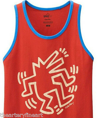 KEITH HARING x UNIQLO /'Dancing Dog Man/' SPRZ NY Ringer Art Tank Top L Red *NWT*