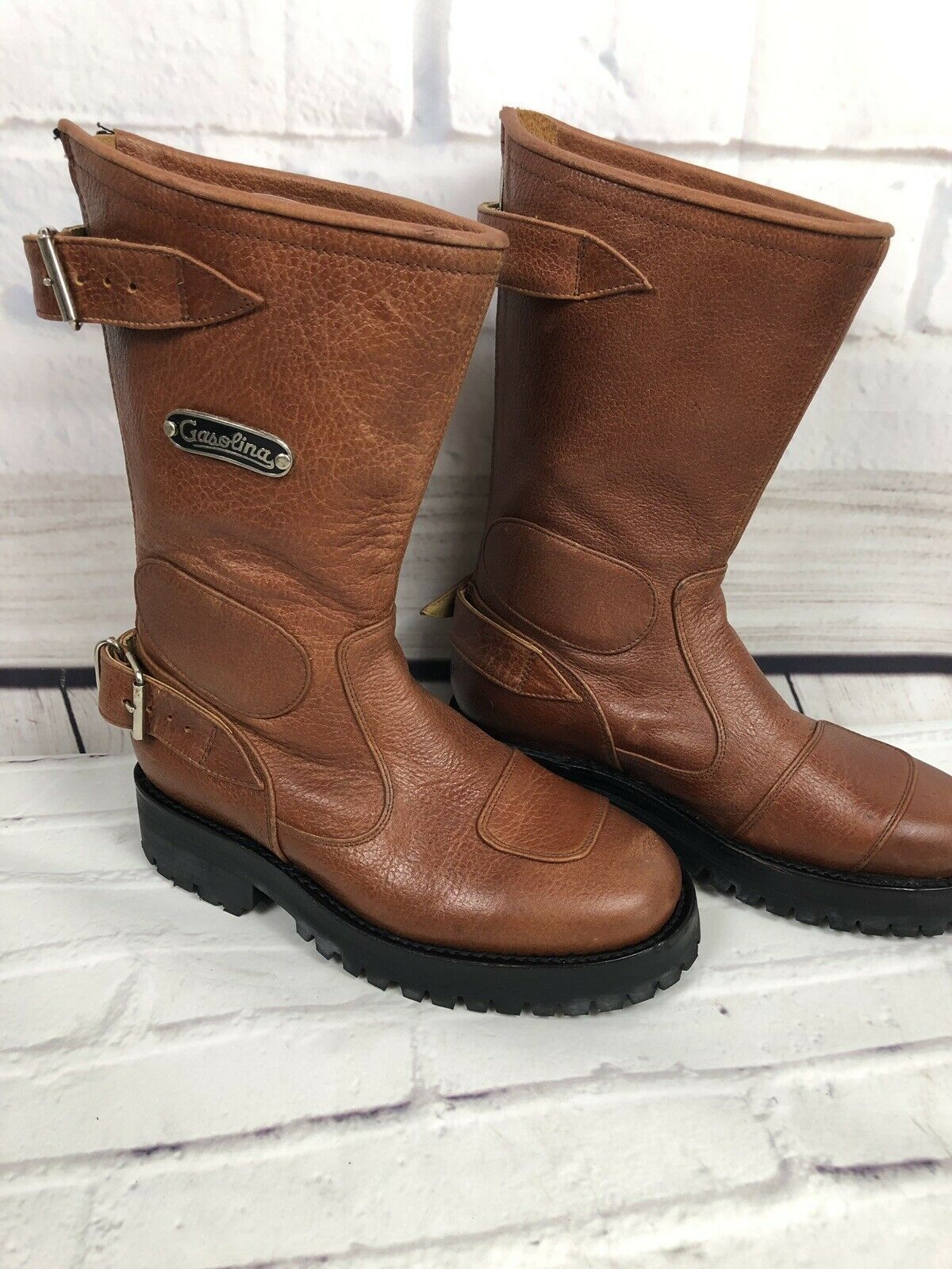 NEW Gasolina Men's High Octane Hand Made Brown Motorcycle Boots Size 5.5 D