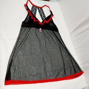 Sleepwear Lace medium Babydoll  racer back Negligee Red/Black  floral polka dot