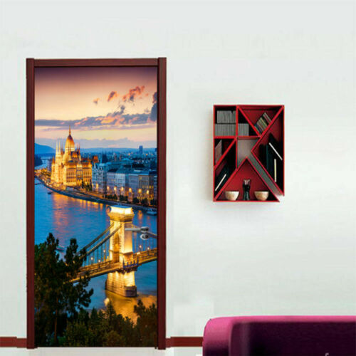 3D Bookcase Door Wall Mural Wallpaper Sticker PVC Removable Decal for Home Decor
