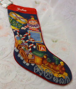 image is loading vintage needlepoint santa 039 s presents toys christmas - Personalized Needlepoint Christmas Stockings