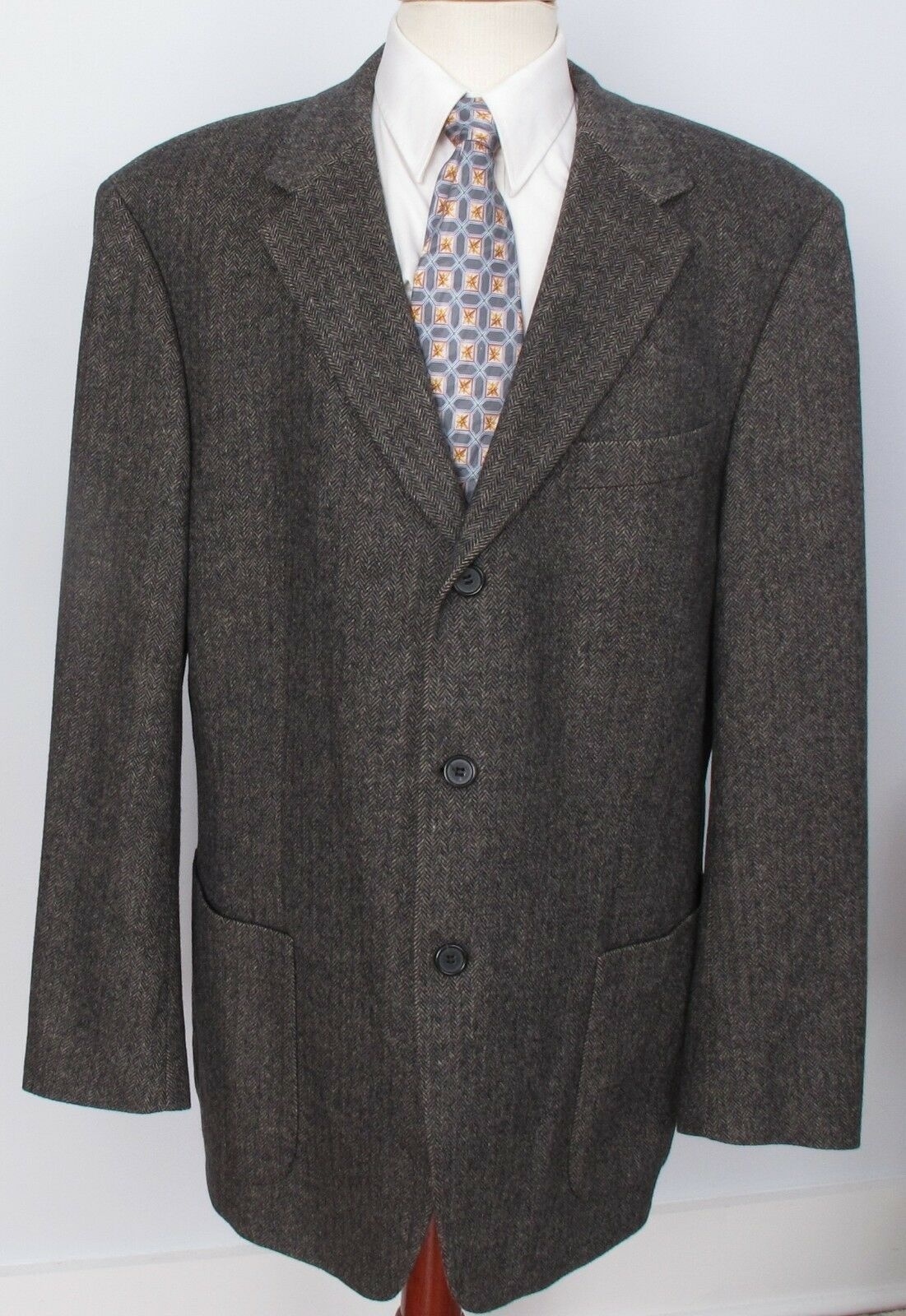 Hugo Boss Tweed Sport Coat grau Braun 44R Edison 3 Button Wool Blend