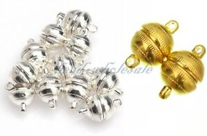 10-Sets-Round-Magnetic-Clasps-Silver-Plated-Gold-Plated-U-Choose-Size-Color