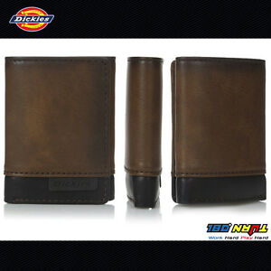 Dickies-Men-039-s-Two-Tone-Premium-Trifold-Leather-Wallet-31DI110004-Brown-Black