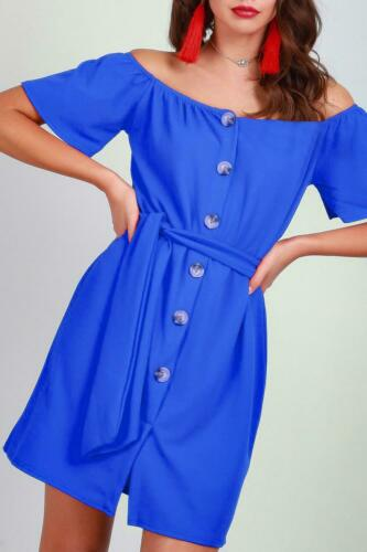 Ladies Bardot Off The Shoulder Belted Front 6 Button Down Women Shirt Mini Dress