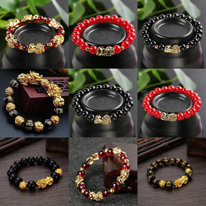 Feng-Shui-Black-Bead-Alloy-Wealth-Bracelet-with-Golden-Pixiu-Charms-Jewelry-Gift