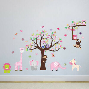 wandtattoo wald sticker tiere baum wandbild affe l we neu rosa m dchen s xl ebay. Black Bedroom Furniture Sets. Home Design Ideas