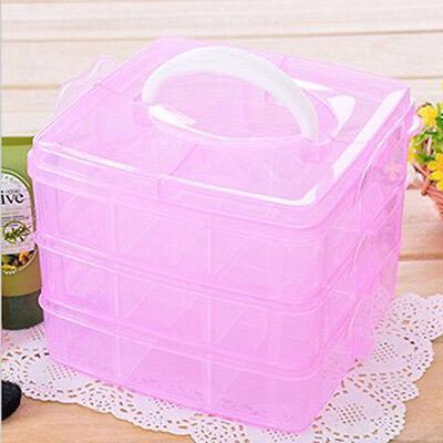 18 compartments Adjustable Plastic Storage Box Case Craft Organizer Pink 3 Layer