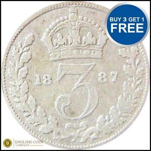 1837-To-1901-argent-victorien-Trois-Pences-3D-Choix-de-l-039-annee-date
