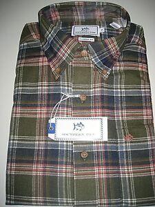 Southern-Tide-Mens-LS-Woven-Dark-Sage-Green-Plaid-Cotton-Shirt-NWT-Free-Ship