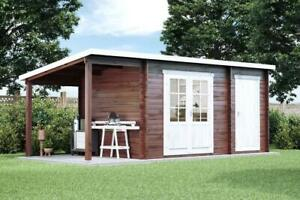 Extrem Pultdach Gartenhaus Maria mit Anbau & Schleppdach Holz 450x250cm UC97