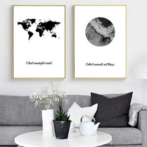 Black white world map sea ocean canvas poster motivational nordic image is loading black white world map sea ocean canvas poster gumiabroncs Image collections