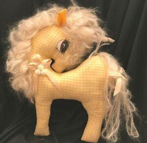 Vintage-Unicorn-Wall-Hanging-Yellow-Gingham-Handmade-Stuffed-Mohair-Yarn-Mane