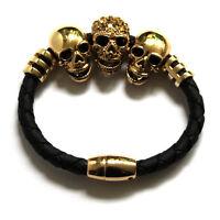 Butler and Wilson 3 Crystal Gold Tone Skull Magnetic Cord Bracelet NEW