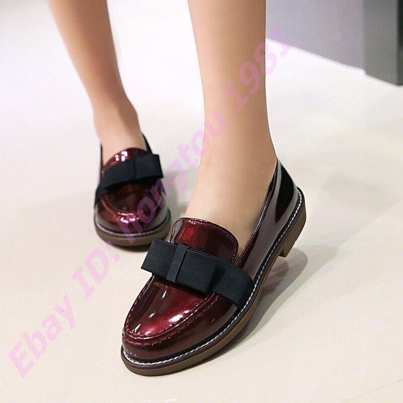 Lolita Womens Bowknot Loafers British Slip On Oxfords New Shiny Pu Leather Flats
