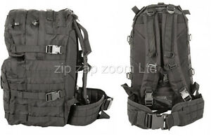 Army-Combat-Military-Rucksack-Back-Pack-Molle-40-Litre-Day-Backpack-Black-40L