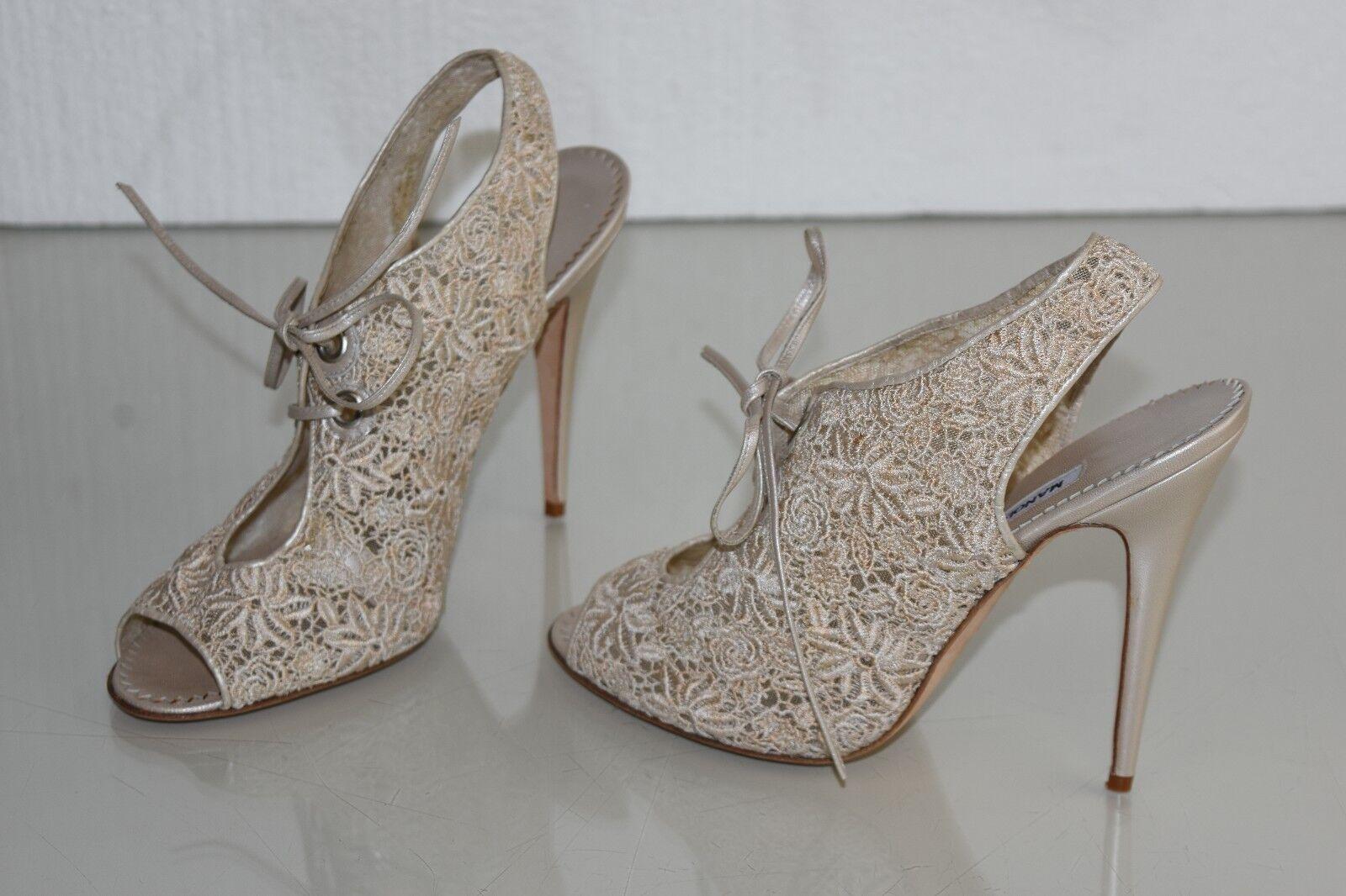 Neu Manolo Blahnik Perle Elfenbein Spitze Sandalen Stiefeletten Schuhe Schuhe Schuhe 39.5 b36cc8