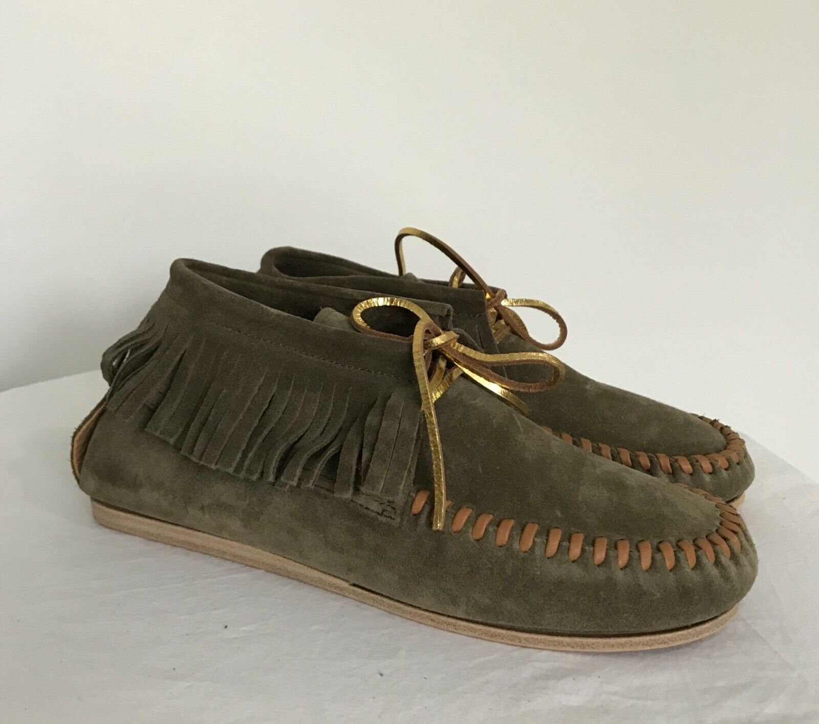 NEW Anthropologie CLOSED Moccasins Flats Size 38 Green Suede shoes