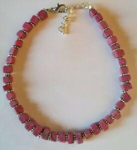 +fußkette,howlithperlen In Pink+metall,fusskettchen Oder Längeres Armband