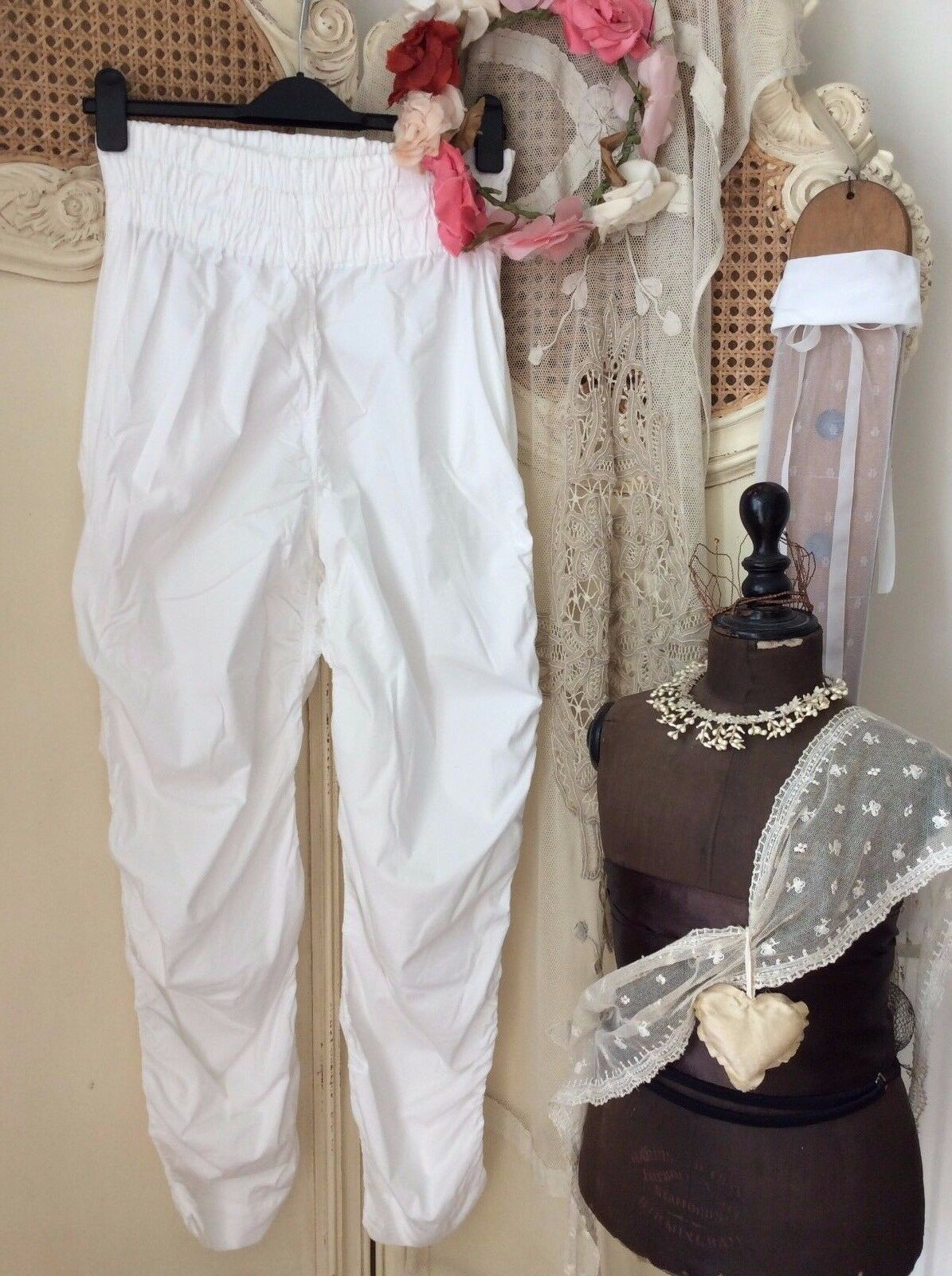 Nelly Johansson Quirky Lagenlook White Ruffle Pants Trousers Size 2Unique