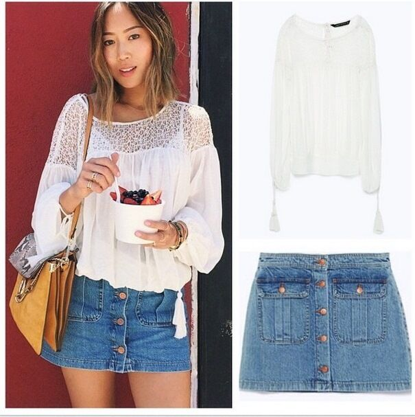 ZARA WHITE COMBINED LACE TOP SIZE S,L