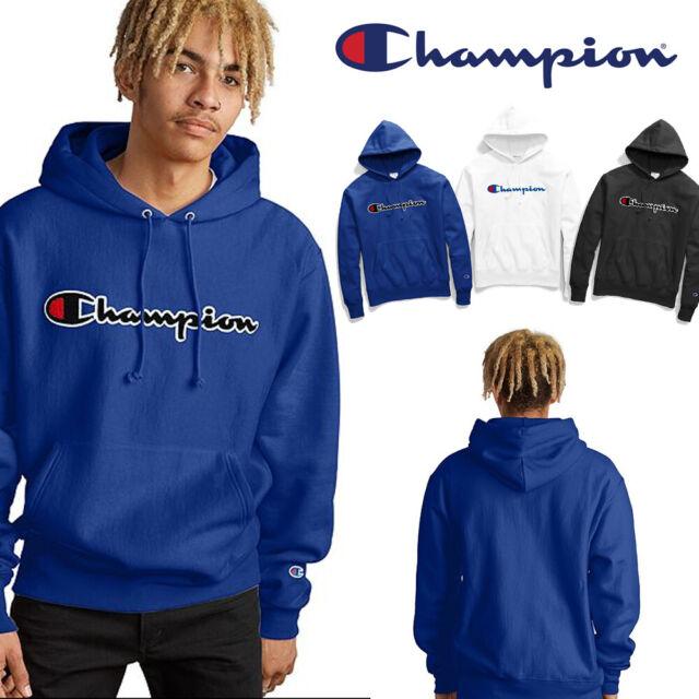 Champion Men's Graphic Powerblend Fleece Pullover Hoodie Blue Surf The Web