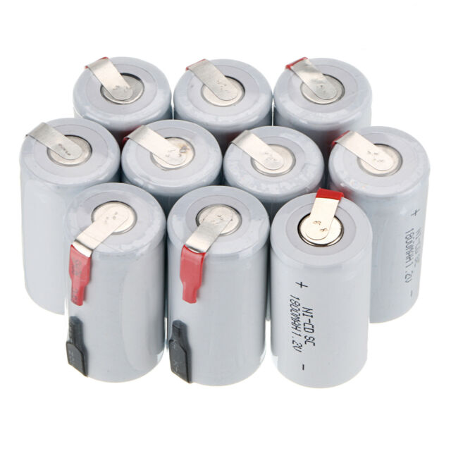 New 10PCS Sub C SC 1.2V 1800mAh Ni-Cd NiCd Rechargeable Battery Batteries -White