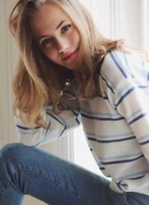 Melville Pull Bleues Blanc rayures Du Brandy Jessica Cou Ras fwBxgq