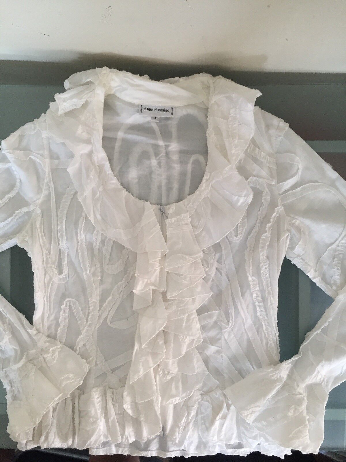 Anne Fontaine White Ruffled Blouse-Sz.4 - image 3