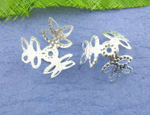 18mm silberfarben * 25 Stück Perlekappen Blume sehr filigran für Perlen 14mm