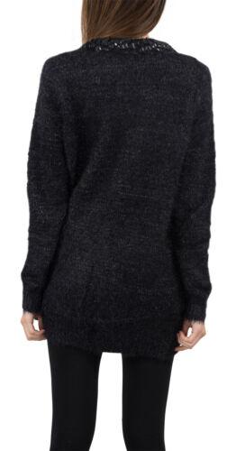 Damen Strick Jacke Cardigan Pullover Damenjacke Lang Schwarz NEU D-338