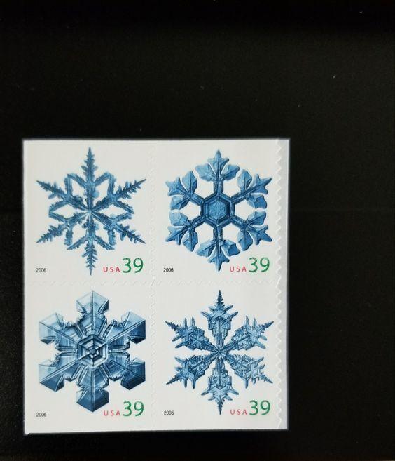 2006 39c Christmas Snowflakes, Block of 4 Scott 4105-41