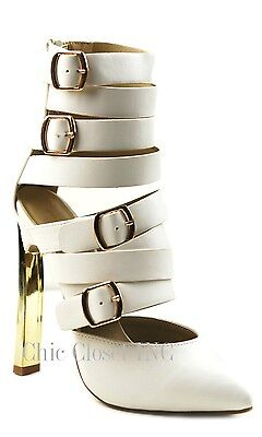 Women Ankle Booties Sexy High Heel Gold Tone Buckle Straps Mid Boots Shoes NEW